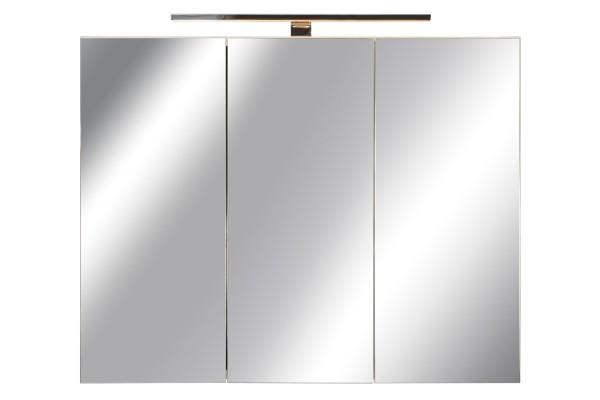 Spiegelschrank Bad, Breite: 90 cm, Türen doppel verspiegelt inkl. LED-Leuchte Chrom glanz