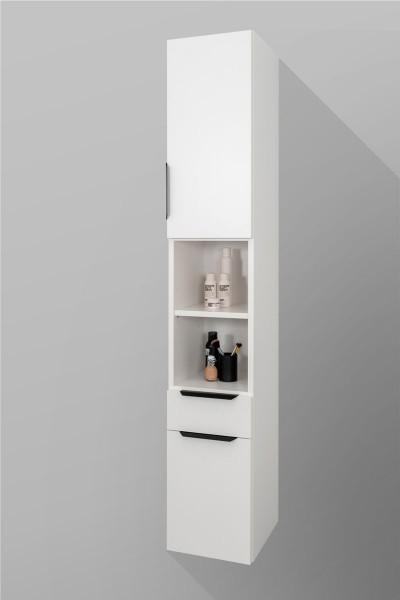 Badezimmer Hochschrank, unten 1 Tür, 1 Schublade, offenes Fach, oben 1 Tür, H/B/T [180/30/37]