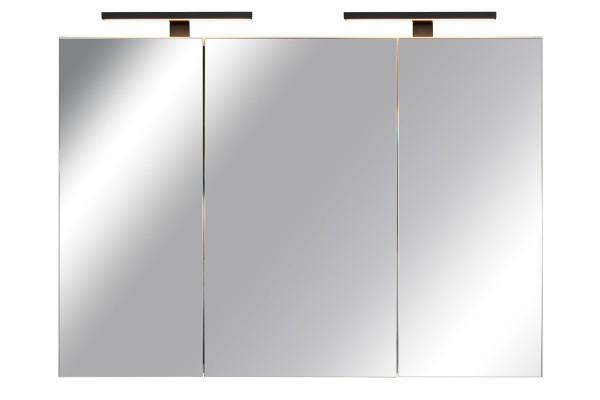 Spiegelschrank Bad, Breite: 120 cm, Türen doppelt verspiegelt inkl. matt schwarzer LED-Leuchten