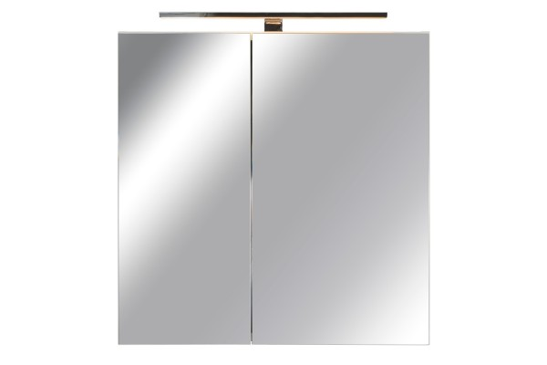 Spiegelschrank Bad, Breite: 70 cm, Türen doppel verspiegelt inkl. LED-Leuchte Chrom glanz
