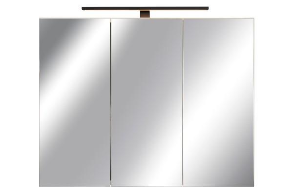 Spiegelschrank Bad, Breite: 90 cm, Tür doppel verspiegelt inkl. matt schwarzer LED-Leuchte