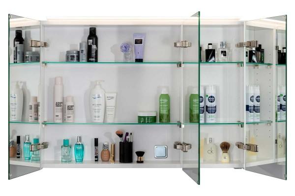 Spiegelschrank Bad, Breite: 120 cm, Türen doppel verspiegelt inkl. LED-Leuchte Veneo