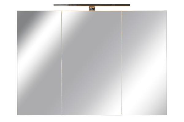 Spiegelschrank Bad, Breite: 100 cm, Türen doppel verspiegelt inkl. LED-Leuchte Chrom glanz