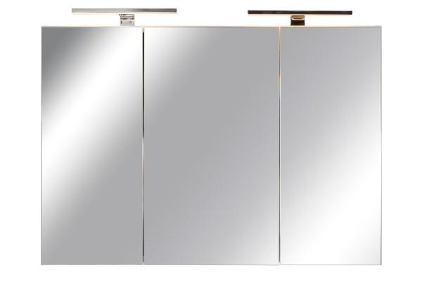 Spiegelschrank Bad, Breite: 120 cm, Türen doppel verspiegelt inkl. LED-Leuchten Chrom glanz