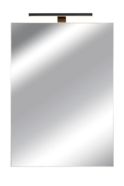 Spiegelschrank Bad, Breite: 50 cm, Tür doppel verspiegelt inkl. matt schwarzer LED-Leuchte