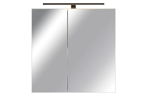 Spiegelschrank Bad, Breite: 70 cm, Türen doppel verspiegelt inkl. matt schwarzer LED-Leuchte