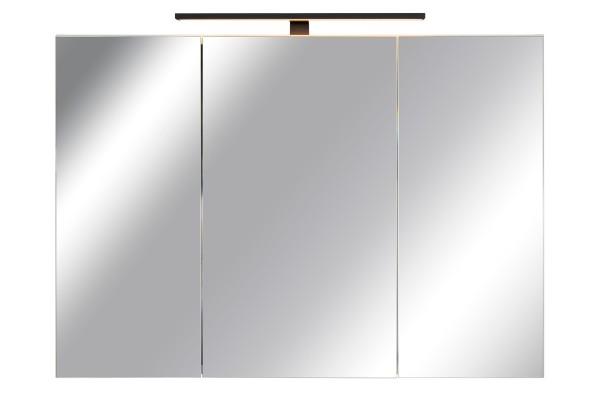 Spiegelschrank Bad, Breite: 110 cm, Türen doppel verspiegelt inkl. matt schwarzer LED-Leuchte