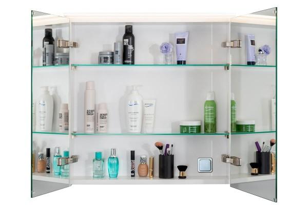 Spiegelschrank Bad, Breite: 70 cm, Türen doppel verspiegelt inkl. LED-Leuchte Veneo