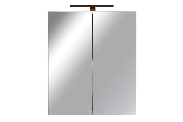 Spiegelschrank Bad, Breite: 60 cm, Türen doppel verspiegelt inkl. matt schwarzer LED-Leuchte