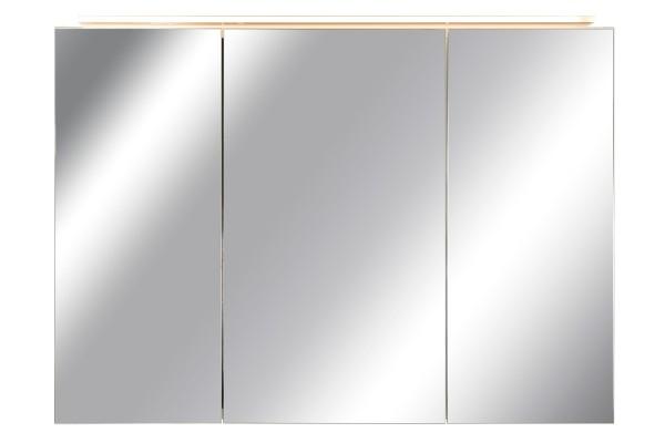 Spiegelschrank Bad, Breite: 110 cm, Türen doppel verspiegelt inkl. LED-Leuchte Veneo
